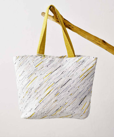 White Yellow Upcycled Handmade Beach Bag