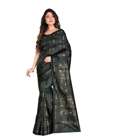 Bengal Handloom Black Baluchari Silk Saree