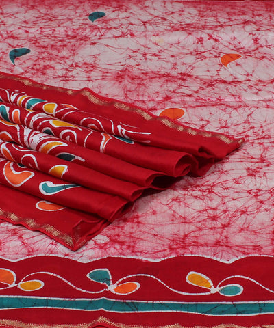 Maheshwari Batik Printed White Red Saree