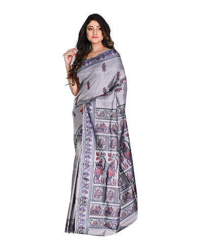 Bengal Handloom Grey Baluchari Silk Saree