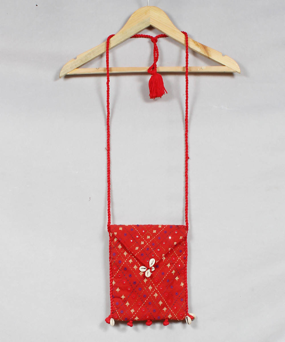 Red Orange Lambani Embroidery Sling Bag