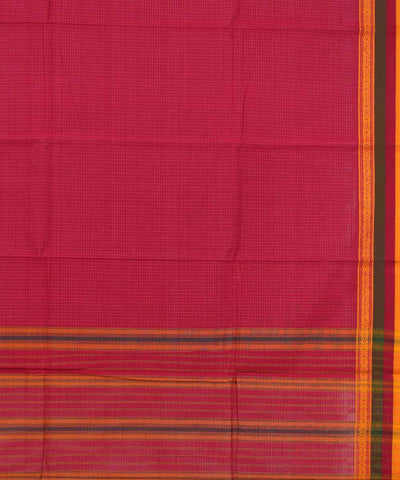Pink Checks Handloom Narayanapet Cotton Saree