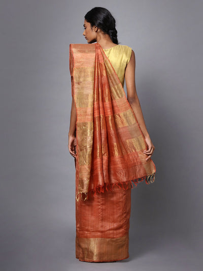 Handloom Light Orange Tussar Silk Saree