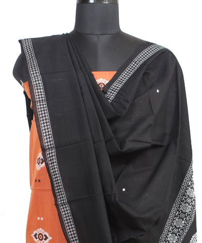 Orange Black Bomkai Handloom Cotton Suit Set