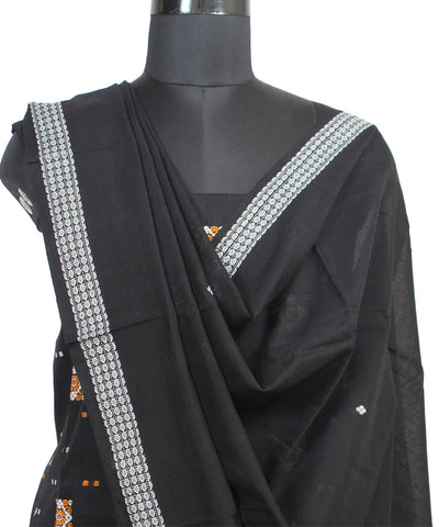 Black Bomkai Handloom Cotton Suit Set