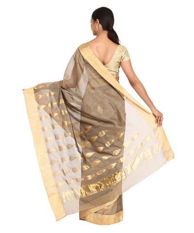 Grey with Gold Handwoven Chanderi Sico Saree