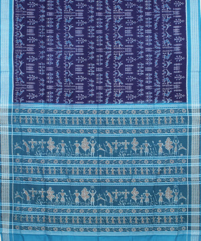 Blue Sambalpuri Ikat Handloom Cotton Saree