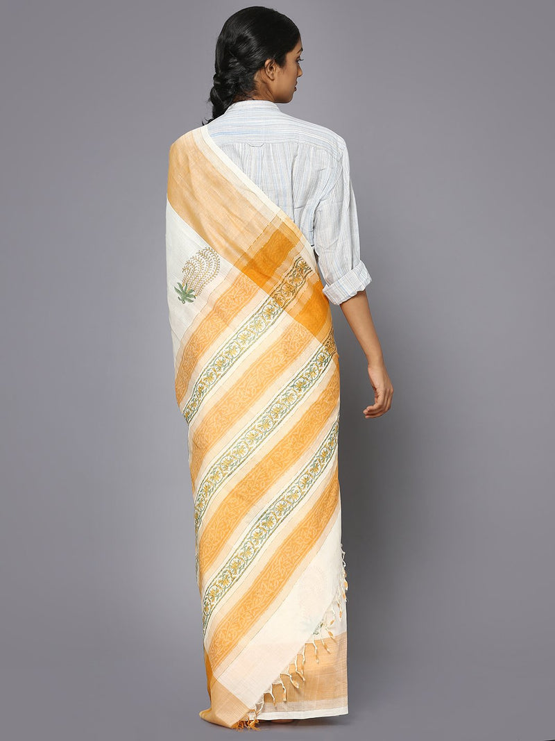 White block print cotton saree