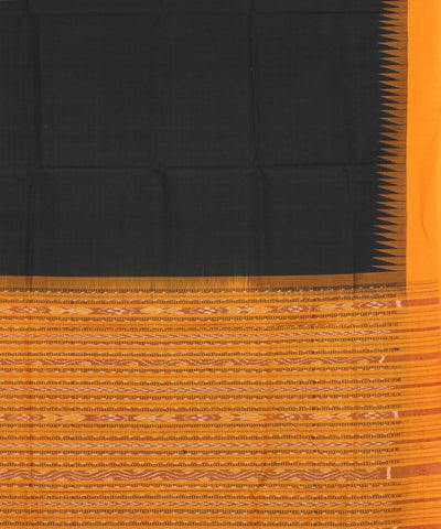 Black Orange Sambalpuri Handloom Cotton Saree