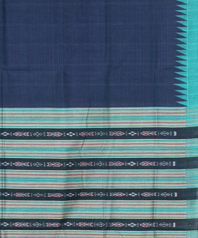 Navy Blue Sea Green Ikat Handloom Saree