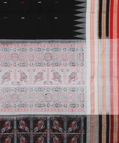 Black Red White Bomkai Cotton Ikat Saree
