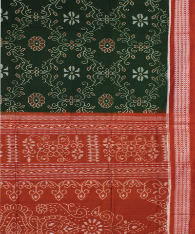 Olive Green Rust Sambalpuri Cotton Ikat Saree