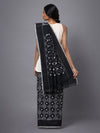 Black pochampally ikat handloom cotton saree