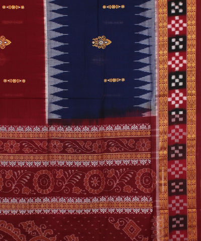 Bomkai Blue Maroon Handloom Cotton Ikat Saree