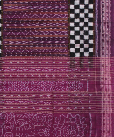 Purple Checkered Sambalpuri Cotton Saree