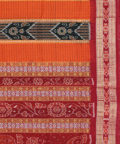 Sambalpur Orange Maroon Handloom Cotton Saree
