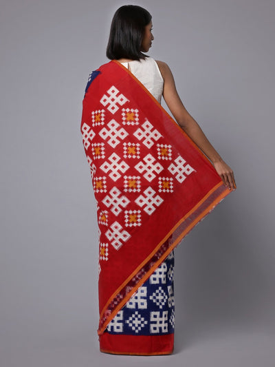 Blue red ikat handloom cotton saree