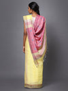 Light Yellow Handloom Linen Saree