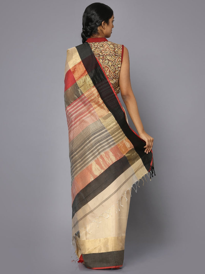 Beige silk cotton maheshwari saree