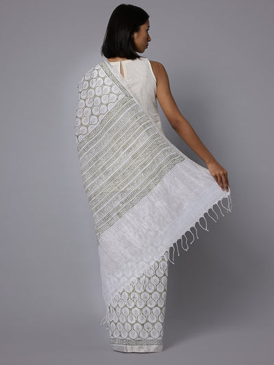 White cotton handblock print saree