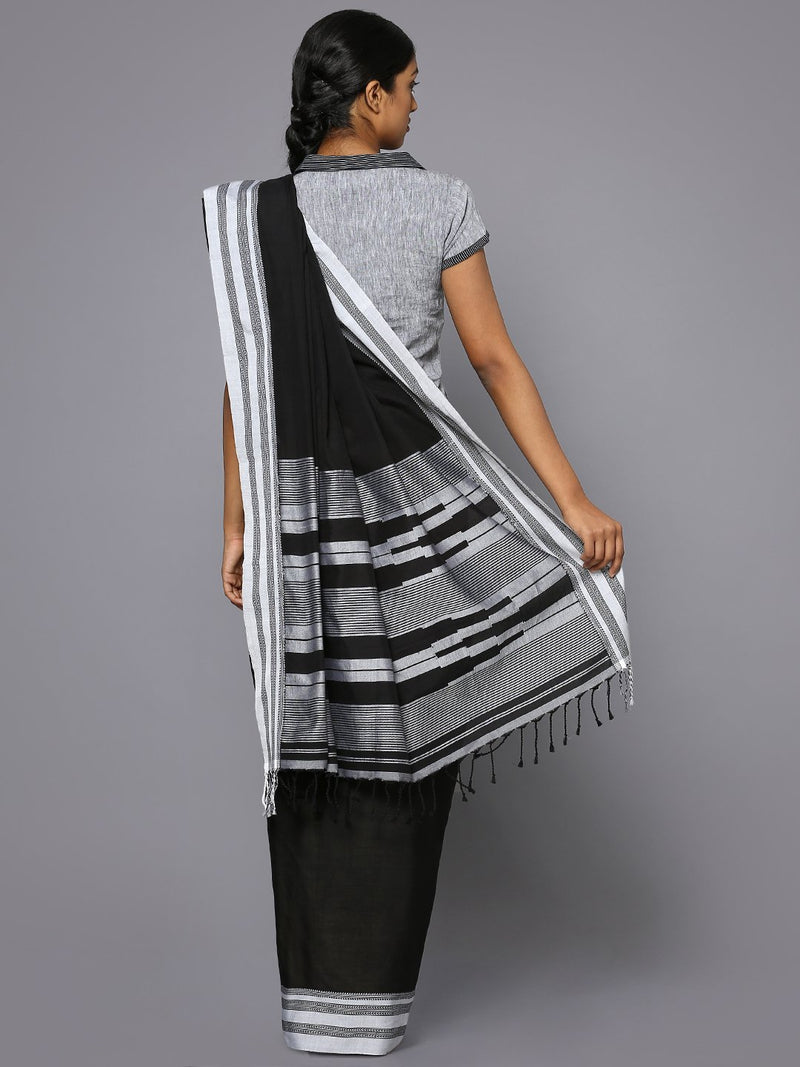 Jet black ilkal cotton saree