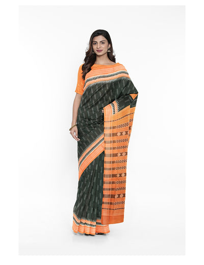 Green Saffron Sambalpuri Cotton Saree