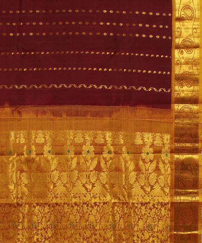 Maroon and Golden Khadi Handloom Silk Saree