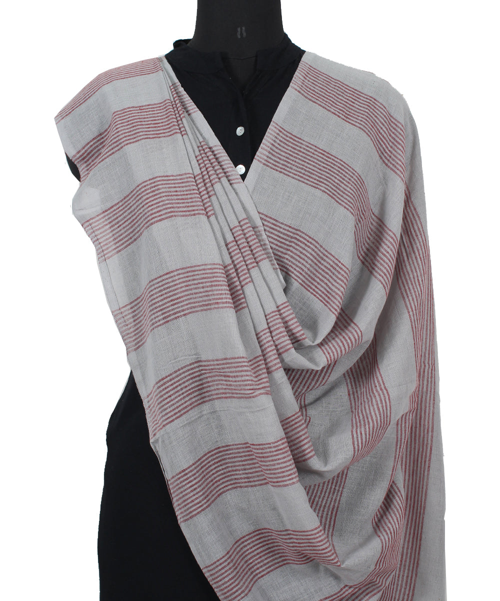 Handwoven Coin grey And Maroon Cotton Dupatta