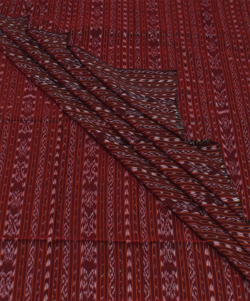 Dark Maroon Nuapatna Handwoven Cotton Fabric