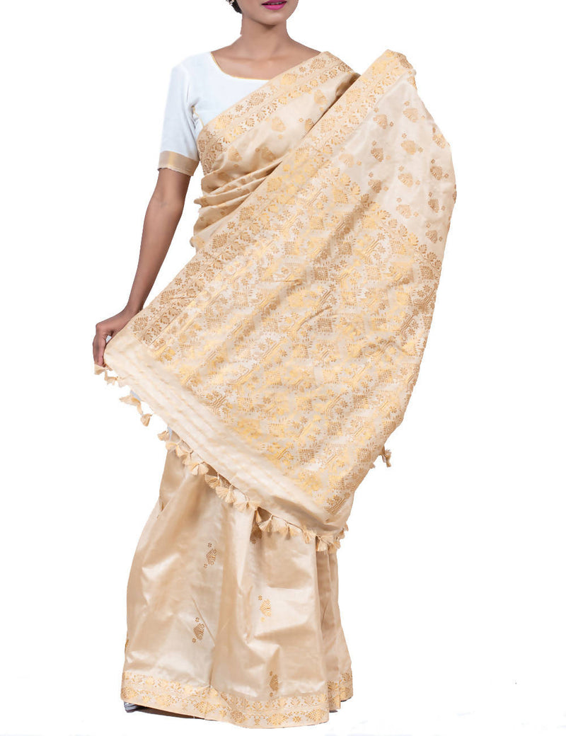 Beige handwoven Tussar silk assam Saree