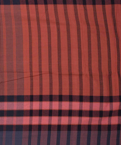 Handwoven Navy and Peach Cotton Saree