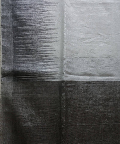 silver and black handwoven Linen tissue Saree
