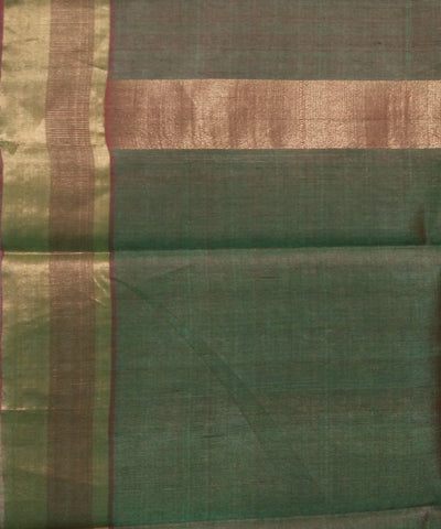 Handwoven Cherry Red Green Kosa Silk Saree
