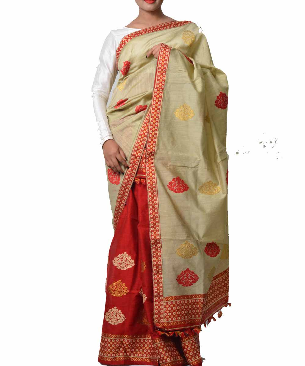 Beige and Scarlet Red Assamese Saree