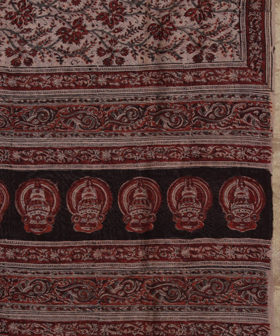 Hand Printed Kalamkari Art Silk Saree