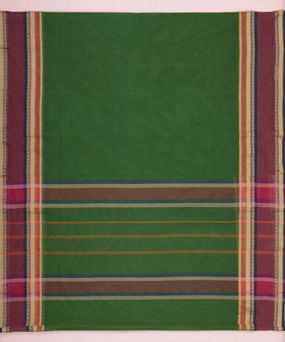 Broad Border Bottle Green Handloom Kanchi Cotton Saree