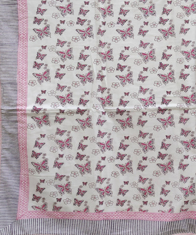 Pink Butterfly Printed Cotton Dohar