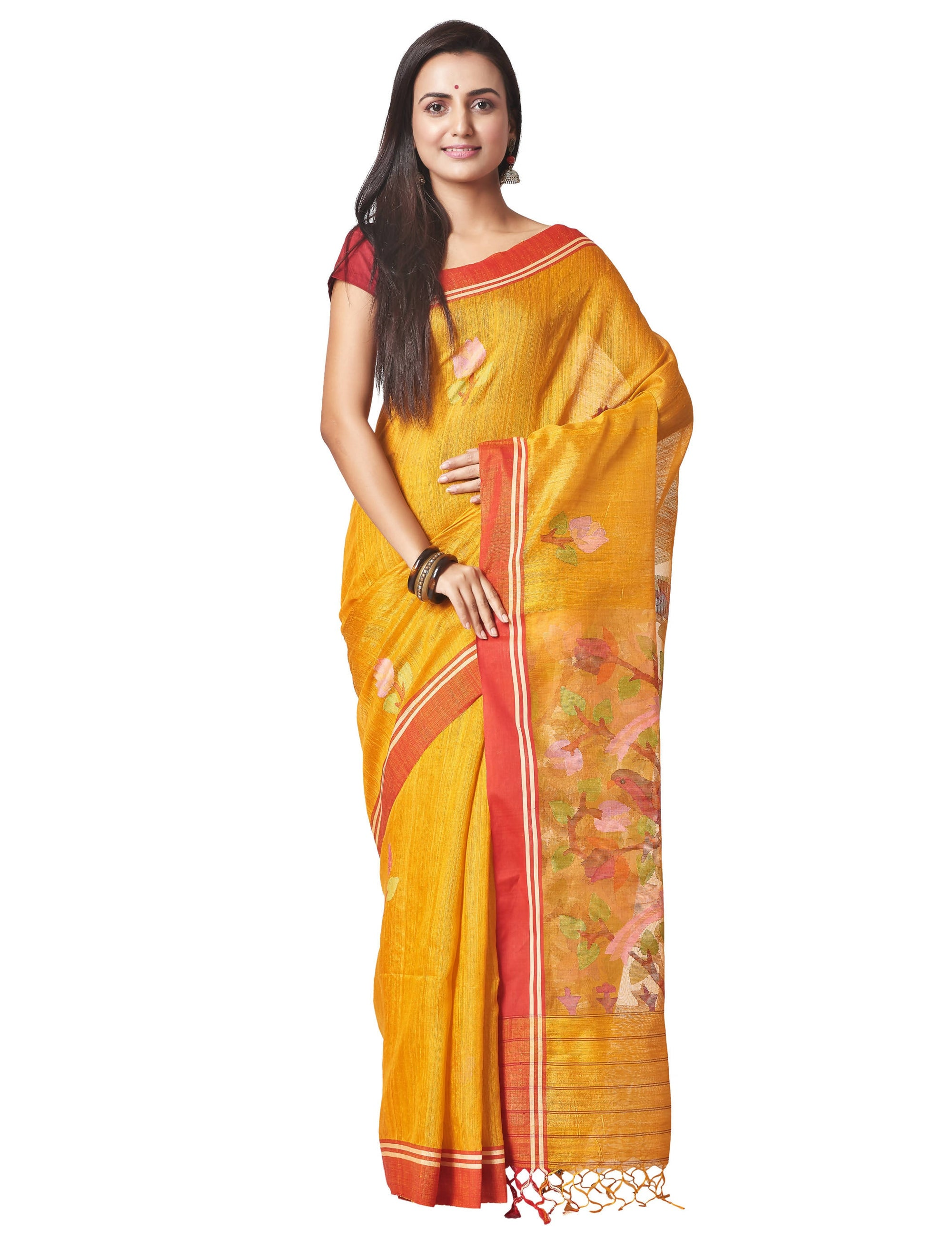 Biswa Bangla Handloom Matka Silk Jamdani Saree - Mustard Yellow