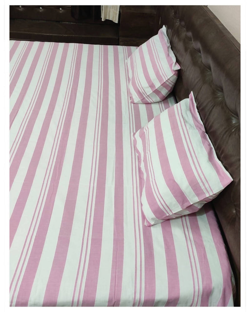 Pink stripes handloom king size cotton bedsheet
