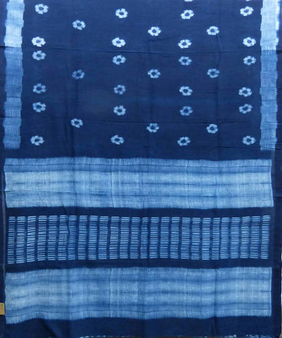 Shibori Navy Blue Handloom Cotton Saree