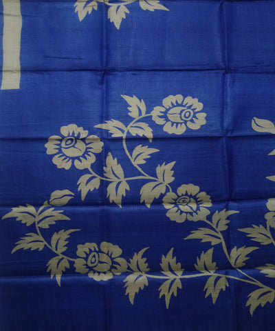 Handwoven Handpainted Royal Blue Tussar Silk Saree