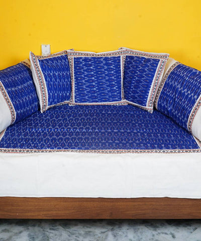 Royal Blue Handloom Ikkat Diwan Set