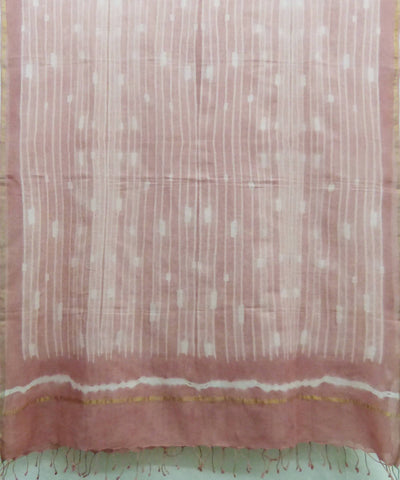 Pink Natural Dyed Handwoven Cotton Shibori Dupatta