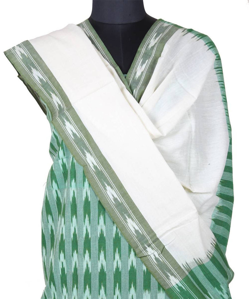 Green white handloom pochampally cotton suit