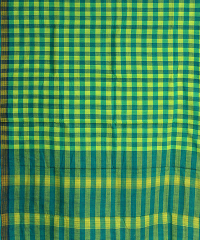 green yellow checks khadi handwoven cotton saree