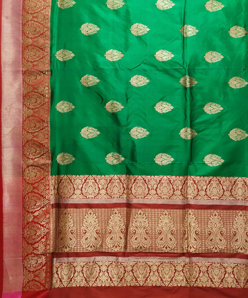 Banarasi green and red handwoven katan silk saree