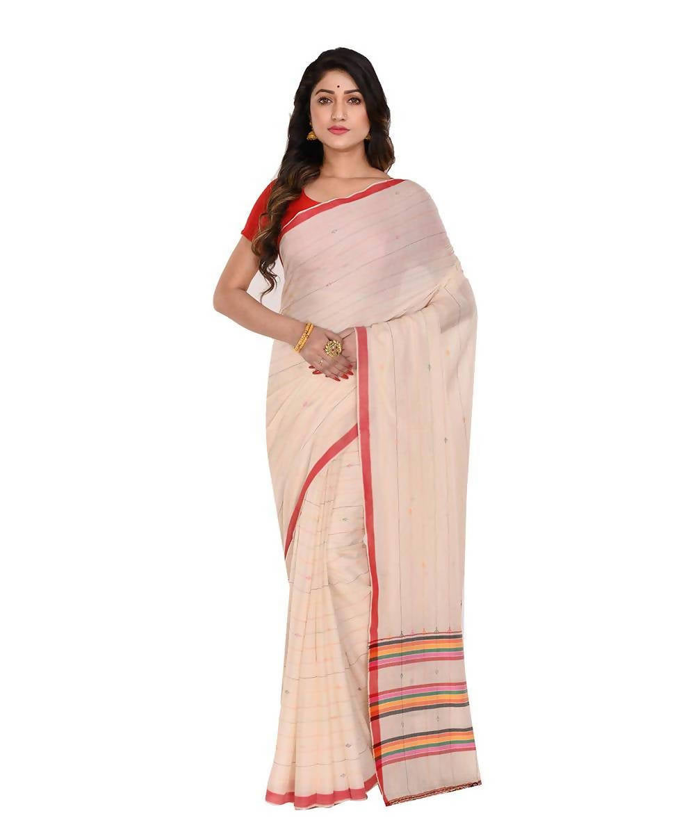 Handloom bengal off white cotton saree
