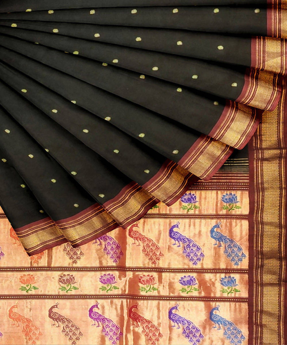 Black Handwoven Silk Paithani Saree