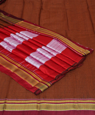 Ilkal Chikki Paras Brown Check Handloom Saree