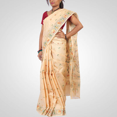 Handwoven Tussar Silk Saree in Offwhite